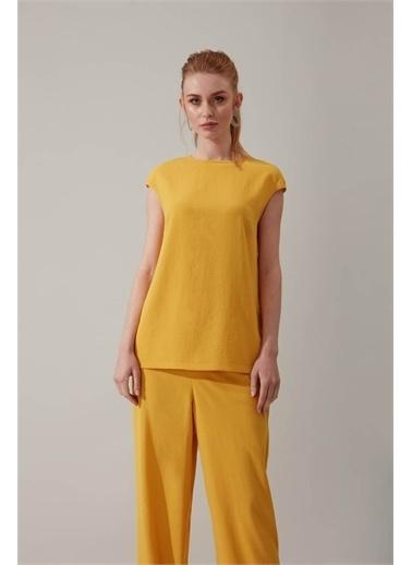 Mizalle Kolsuz Sarı Bluz Sarı